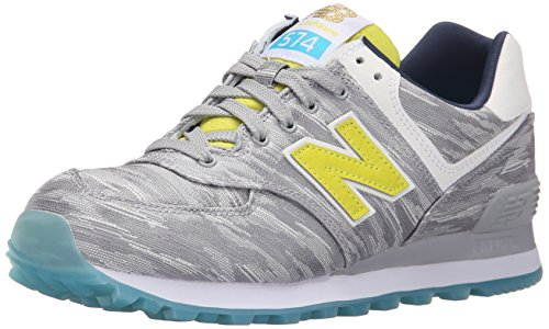 New Balance Women's WL574 Summer Waves Running Shoe, Silver Mink/Limeade, 8.5 B US