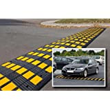 """Tapco 1485-00040 Vulcanized Rubber Speed Hump Main Section, 19-1/2"""" Length x 35-1/2"""" Width x 2"""" Height, Yellow Stripes on Black"""