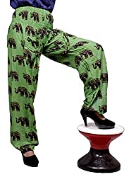 Cotton Elephant Genie Harem Pants Boho Gypsy Trousers Free Size (Green)