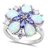 Lab Created White Opal, Simulated Tanzanite & Cubic Zirconia Flower .925 Sterling Silver Ring Sizes 6-10 Sro16905
