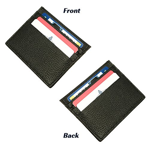 12. DEEZOMO Genuine Leather Unisex Card Case Wallet Slim Thin 6 Card Slots Compact Wallet