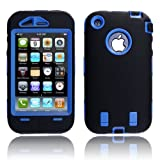 MagicMobile Hard Case with Soft Skin Rubber Silicone Cover for Iphone 3g 3gs Black/Blue