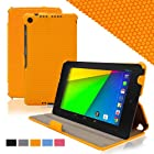 KHOMO Orange GRID Material Slim Cover Case With Hand Strap for Google Nexus 2nd Gen 7.0 inch (2013 generation)