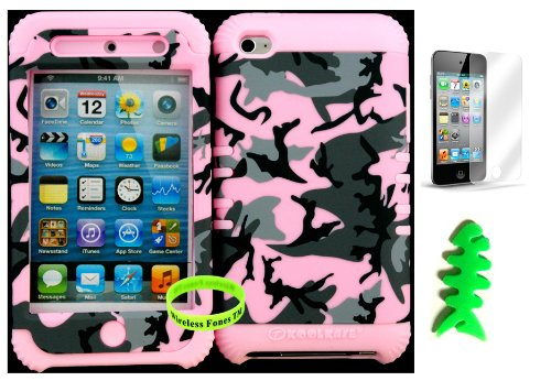 Hybrid Cover Case For Apple Ipod Touch Itouch 4G 4 Pink Random Pattern Hard Plastic Snap On Over Baby Pink Silicone Gel (Included: Wristband, Earpiece Winder And Screen Protector Exclusively From Wirelessfones Tm) front-916266