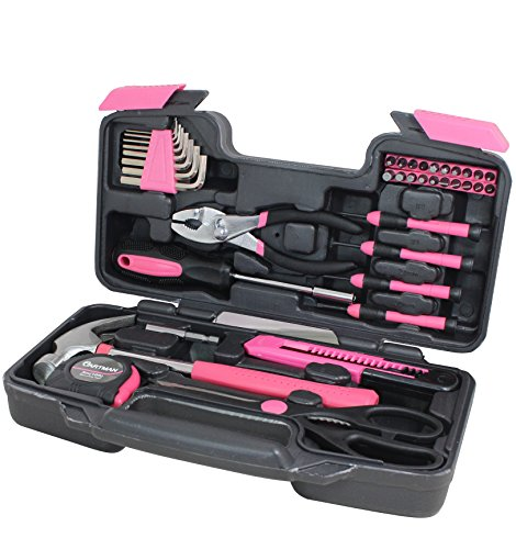 Cartman Pink 39-Piece Tool Set - General Household Hand Tool Kit with Plastic Toolbox Storage Case (Small Tool Set compare prices)
