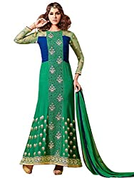 Craftliva Latest Heavy Embroidered Designer Green Straight Suits