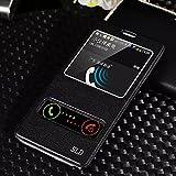 QUIKASE S-View Custodia in pelle Protettiva Cuoio Flip Case Cover per Samsung Galaxy Note 4 Nero