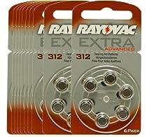 60 piles auditives Rayovac 312 Extra advanced / pile auditive PR41 / piles pour appareils auditifs / 312AE,A312,DA312,P312,PR312H