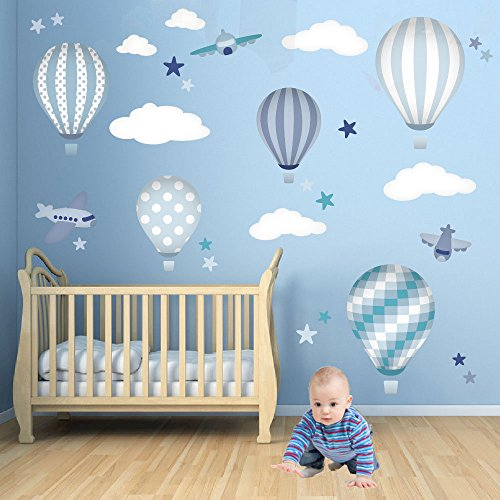hot-air-balloon-decal-with-planes-white-clouds-and-stars-blue-and-grey-nursery-decor-boys-wall-stick