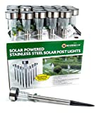 24 X STAINLESS STEEL TUBE GARDEN SOLAR POST LIGHTS NEW