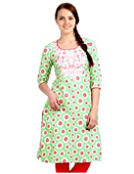 ESTYLe Spring Green With Red Floral Prints Kurta From ESTYLe With Embroidered Yoke
