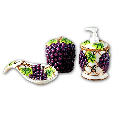 GRAPES 3D Resin & Ceramic theme Kitchen 4 pcs Set NEW