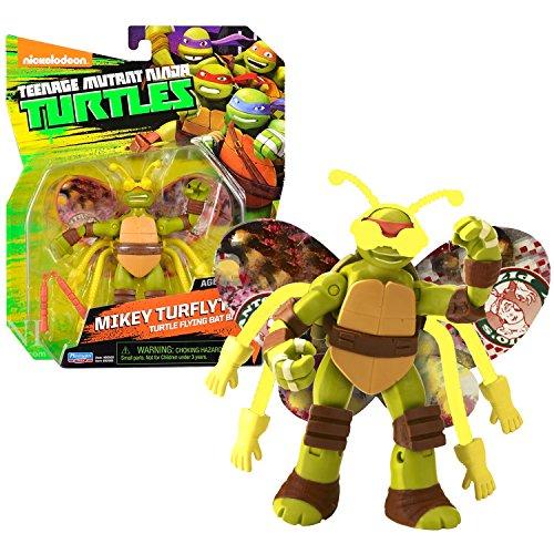 Playmates Year 2014 Nickelodeon Teenage Mutant Ninja Turtles 5 Inch Tall Action Figure - Turtle Flying Bat Bait MIKEY TURFLYTLE with Pair of Nunchucks