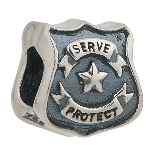 Protect Serve Police Officer Badge Authentic Sterling Silver Bead Fits Pandora Charms