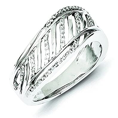 Sterling Silver Open Back Diamond Ring - Ring Size Options Range: L to P