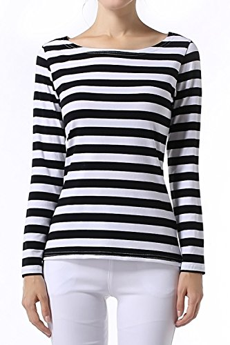 Ouges women 39 s long sleeve stripe pattern t shirt loose for Black and white striped long sleeve shirt women