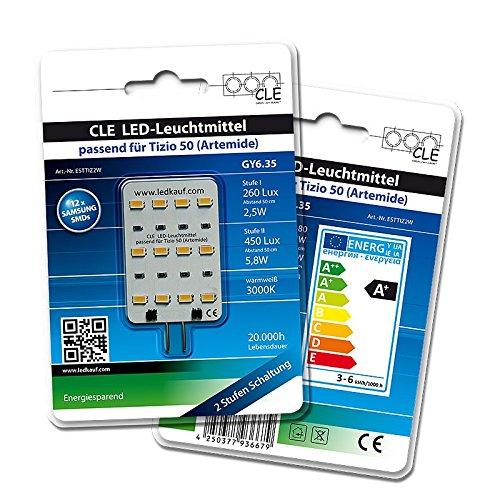 LED Ersatzleuchtmittel für Artemide Tizio 50 12V GY6.35 3000K 6 Watt (50 Watt)