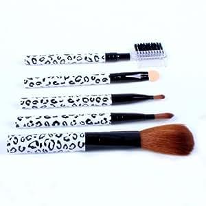 Ostart 5 Pcs Cosmetic Makeup Tool Brush Kit Travel Set - White