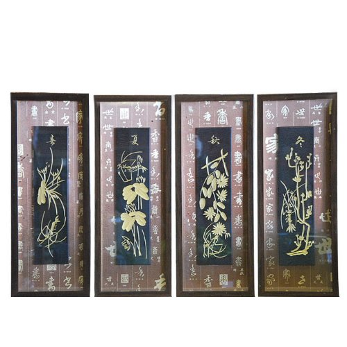 set of 4 oriental four seasons wall art shadow box hanging. Black Bedroom Furniture Sets. Home Design Ideas