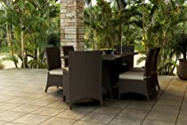 Hot Sale Forever Patio Hampton 7 Piece Modern Patio Dining Set with Cream Sunbrella Cushions (SKU FP-HAM-7DN-CH-AC)