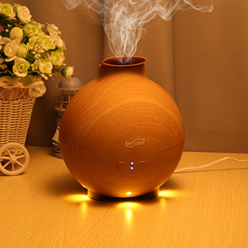 Housmile 600ml Essential Oil Diffuser with Warm Color, New Wood Grain Design, Whisper-Quiet, Waterless Auto Shut-off and Mist Mode Adjustment for Home, Office