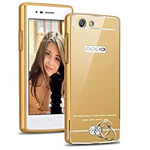 D'clair Premium Luxury Bumper Mirror Acrylic Back Cover for OPPO f1s (Gold)
