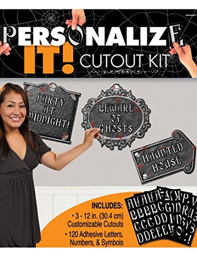Halloween Holiday Personalize It Cutout Kit Decorating Set Parties Gothic Fun
