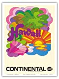 Hawaii - Continental Airlines - Psychedelic Art - Vintage Airline Travel Poster c.1960s - Hawaiian Master Art Print - 9in x 12in
