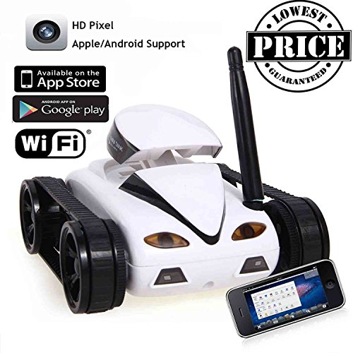 RC Mini Tank Car I Spy with Video 0.3MP Camera 777-270 WiFi Remote Control By Iphone Android Robot with Camera 4CH APP White (Remote Control Spy Robot compare prices)