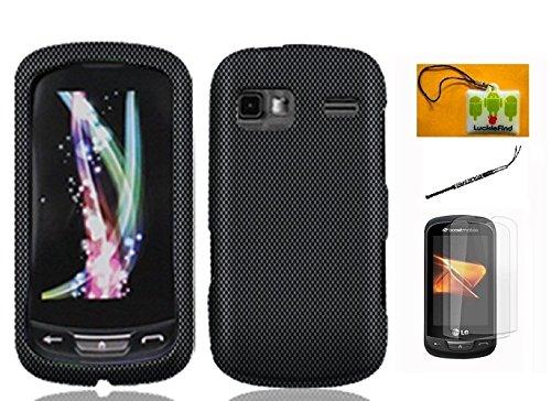 LF 4 in 1 Bundle Accessory - Design Hard Case Cover, Lf Stylus Pen & Wiper For LG Rumor Reflex LN272, LG Xpression C395C, LG Freedom, LG Converse AN272 (Designer Carbon Fiber) (Lg Xpression Battery compare prices)