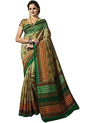 Ashika Women's Raw Silk Saree (STHASKDS18, Green)