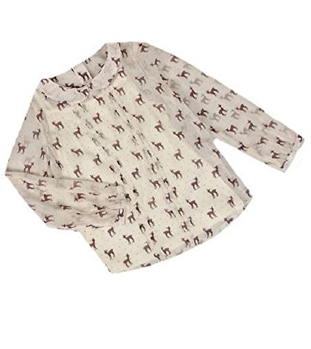 Girls Deer Print Pan Collar Chiffon Blouse & Cami Set (12 - 13 Years)
