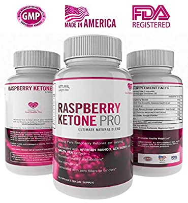 Pure Raspberry Ketones Weight Loss Pro Maximum Strength Ultra Dietary Supplement Highly Recommended Diet Pills With Green Tea Acai Berry African Mango Extract Resveratrol Caffeine Free 600mg