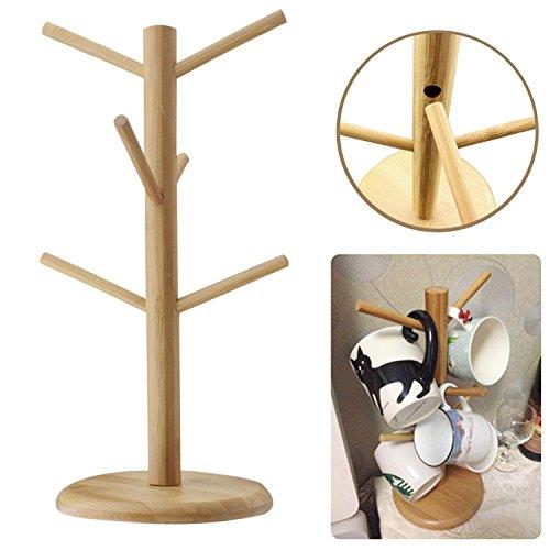 Santwo Wood Stand 6 Hooks Mug Holder Tree Wood Mug Rack Coffee Tee Cup Holder Stand Drying Rack Save Space (6 Hooks Mug Holder) (Space Cup Tee compare prices)