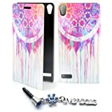 ivencase Painting Art Design PU leather Flip Cover Case for Huawei Ascend P6 + One phone sticker + One