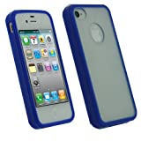 IGadgitz Blue Hard Case & Gel (Thermoplastic Polyurethane TPU) Edged Cover for Apple iPhone 4S 16GB 32GB 64GB + Screen Protector