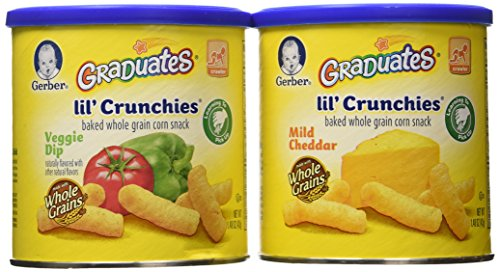 Graduates lil' crunchies baked whole grain corn snack 4 Mild Cheddar 2 veggie dip (6 pack - 1.48 oz each can) (Lil Crunchies Veggie Dip compare prices)