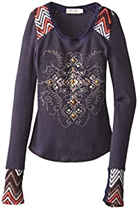 Miss Me Big Girls' Long Sleeve Teel with Embellishment, Navy, X-Large