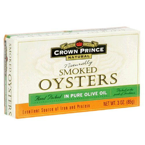 Buy Crown Prince Natural Smoked Oysters in Pure Olive Oil, 3-Ounce Cans (Pack of 24)