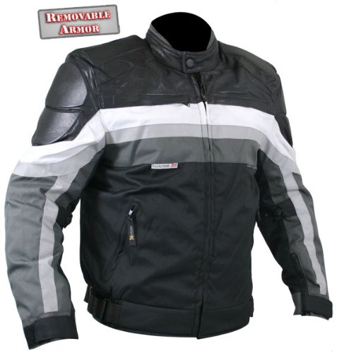 Xelement Armored Black and Grey Cordura Jacket with Leather Trim - Medium
