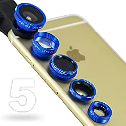 First2savvv JTSJ-5N1-03 blue mobile phone Universal 5 in 1 Clip Camera professional glass Lens Kit (fish eye, wide angle, macro, barlow and polarizer lens) for Lenovo A8-50 8 Inch 16GB Lenovo Miix2 8 In 32GB HDD 2GB RAM Windows 8 Tablet Samsung Galaxy Tab