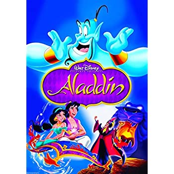 Disney's Aladdin Movie Walt Disney Disneyland Princess Vintage Art Poster advertisement. Poster measures 10 x 13.5 inches.