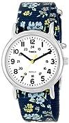 Timex Womans T2P370 Weekender Blue Floral Print Slip-Thru