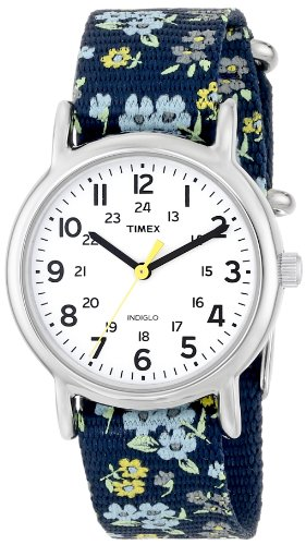 Timex Woman's T2P370 Weekender Blue Floral Print Slip-Thru Nylon Strap Watch