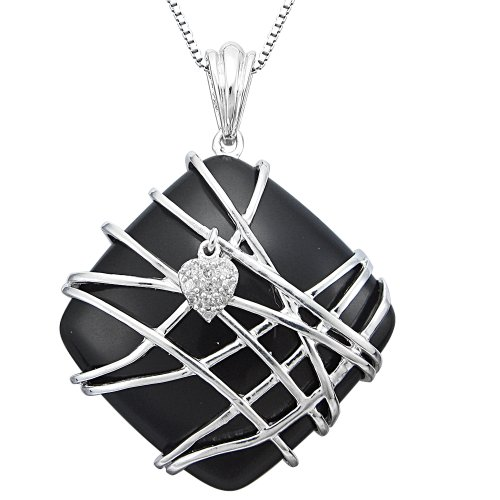 Sterling Silver Wire Wrapped Black Onyx and Diamond Accent Pendant Necklace, 18