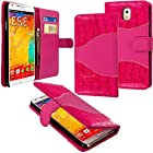 myLife Two-Way Pink {Classy Design} Faux Leather (Card, Cash and ID Holder + Magnetic Closing) Slim Wallet for Galaxy Note 3 Smartphone by Samsung (External Textured Synthetic Leather with Magnetic Clip + Internal Secure Snap In Closure Hard Rubberized Bumper Holder)