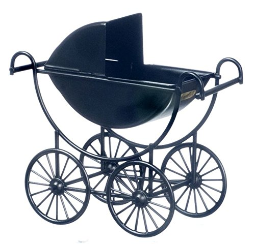 Dollhouse Miniature Black Baby Carriage (Vintage Doll Pram compare prices)