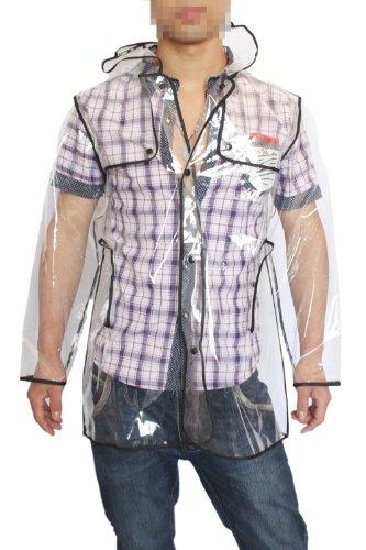 Hengsong Damen Herren Unisex Kurz / Lang Klar Transparente PVC Runway Jacke Regen-Mantel (30inches)