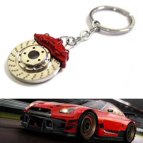iJDMTOY Spinning Drilled Brake Disc Rotor Shape Auto Racing Tuning Part Design Key Chain Ring