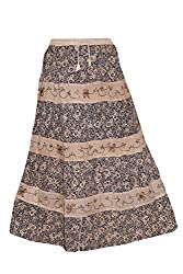 Indiatrendzs Skirts Women's Brown Floral Printed Rayon Boho Skirt